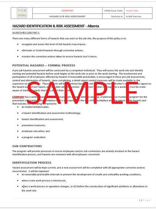 Hazard ID & Risk Control - Alberta RAVS