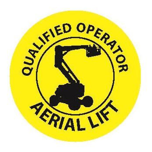 Certified Aerial Lift Operator Sticker--2x2 Circle