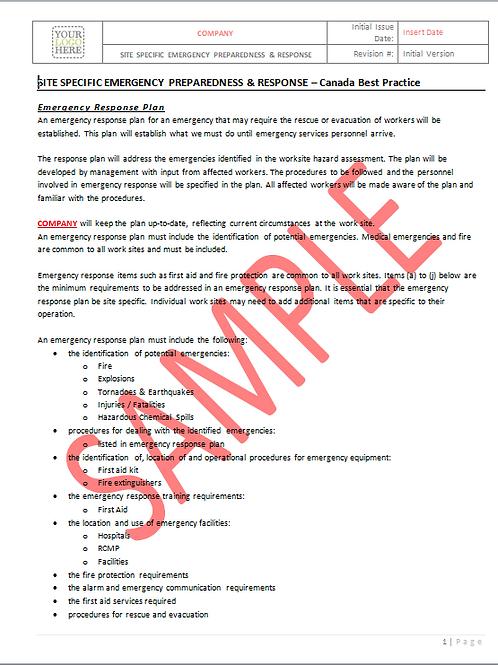 Site Specific Emergency Preparedness - Canada Industry Practice