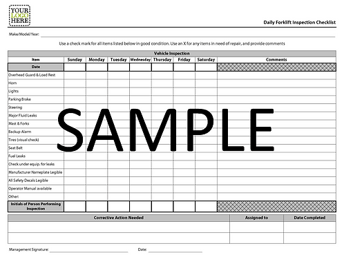 NCR - Daily Forklift Inspection Checklist Form