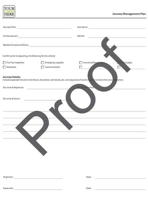 Journey Management Plan Form