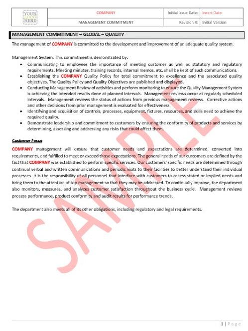 Management Commitment – Global – Quality