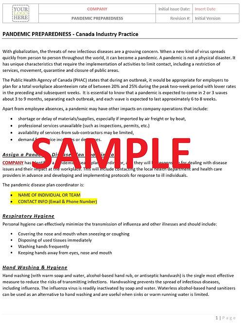 Pandemic Preparedness RAV - Canada Industry Practices