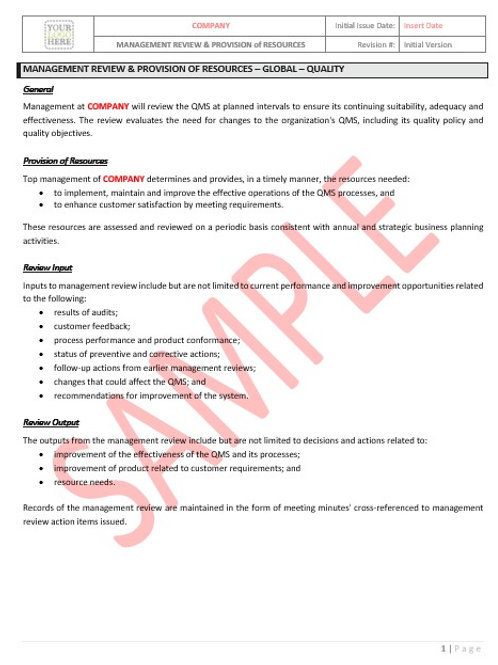 Management Review & Provision – Global – Quality
