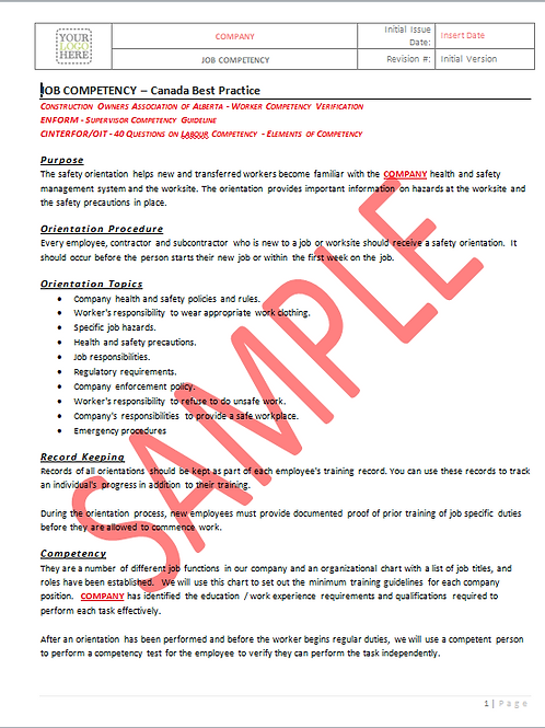 Job Competency - Canada Industry Practice