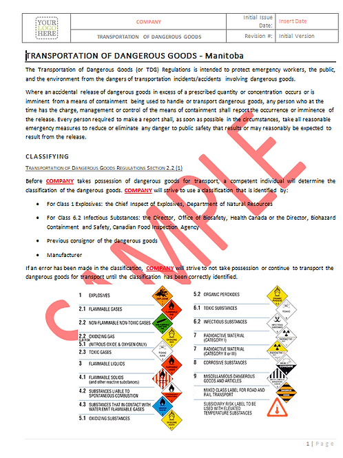 Transportation of Dangerous Goods - Manitoba RAVS