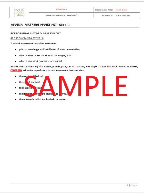 Manual Material Handling - Alberta RAVS