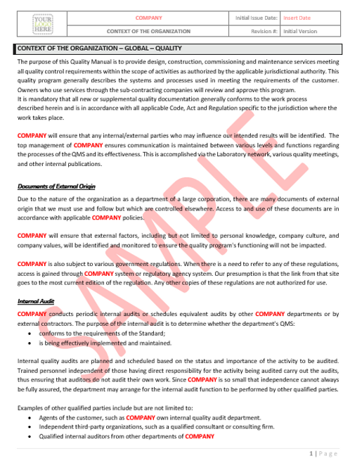Context of The Organization – Global – Quality