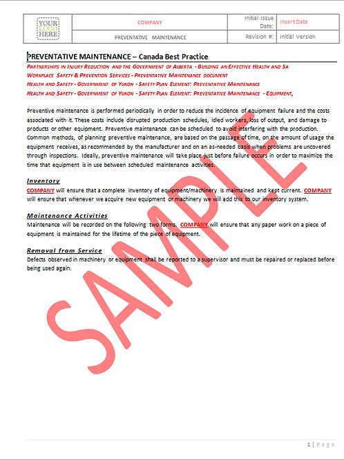 Preventative Maintenance - Canada Industry Practice RAVS
