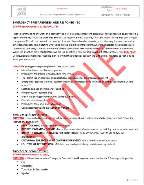 Emergency Preparedness and Response - BC RAVS