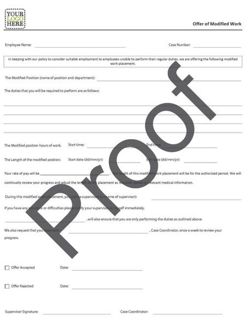 Offer of Modified Work Form