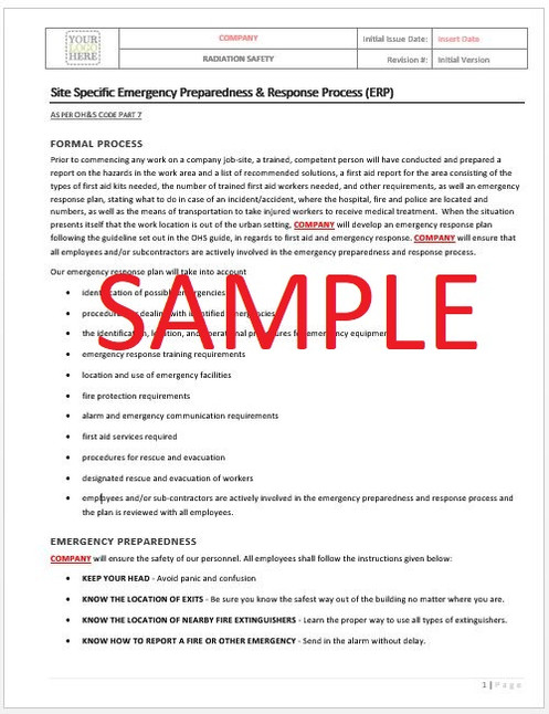 Site Specific Emergency Preparedness & Response - Alberta RAVS