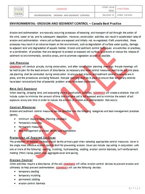 Environmental Erosion and Sediment Control - Canada Industry Practice RAVS