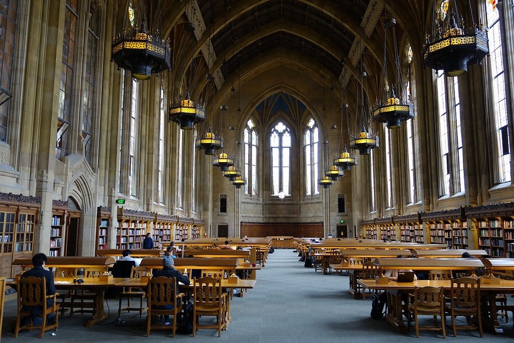 """<img src=""""studyhall.jpg"""" alt text=""""study hall with great architecture and students studying"""">"""