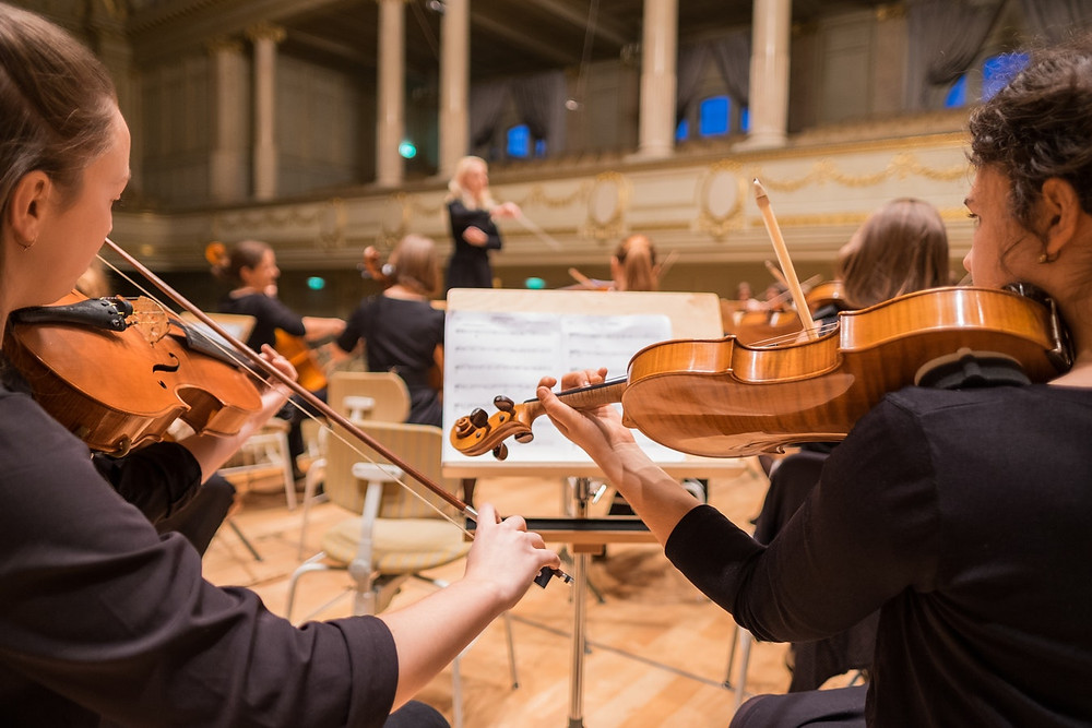 "<img src=""violinists"" alt=""two girls watching the conductor and playing the violin in an orchestra"">"