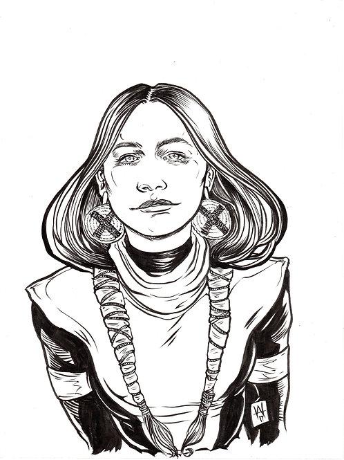 Dani Moonstar bust original inks