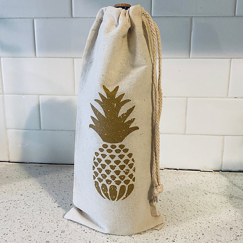 Pineapple - Drawstring Wine Tote