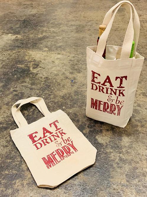 Eat Drink & Be Merry - Wine Tote