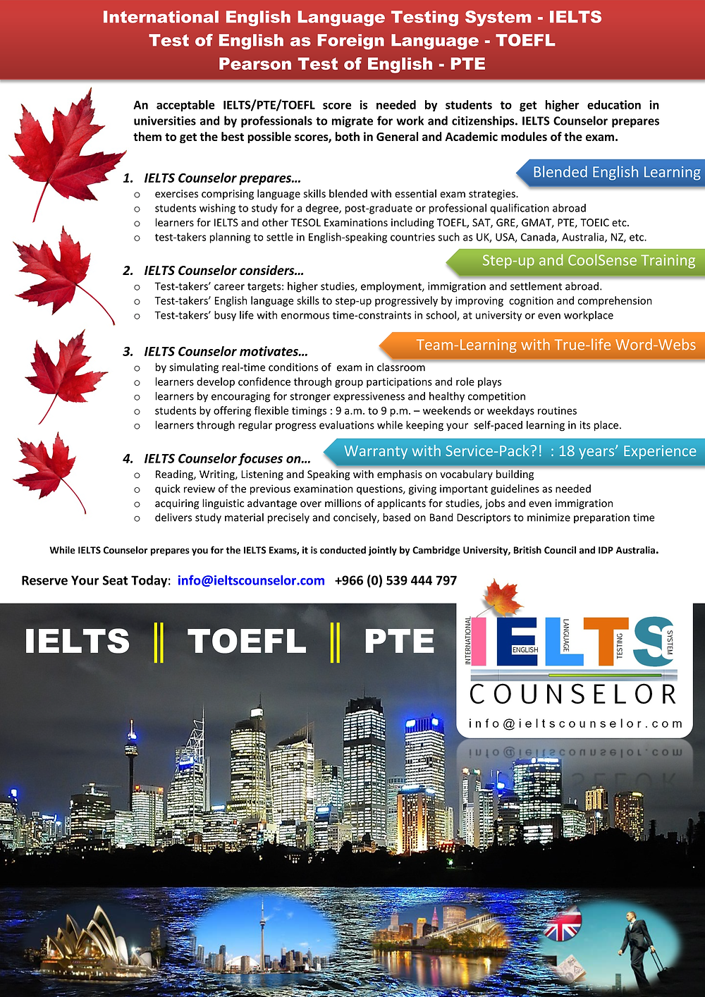 Coaching and guidance for IELTS, both offline and online.
