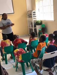 Mrs Sarah Emmanuel with preschool students in Nigeria