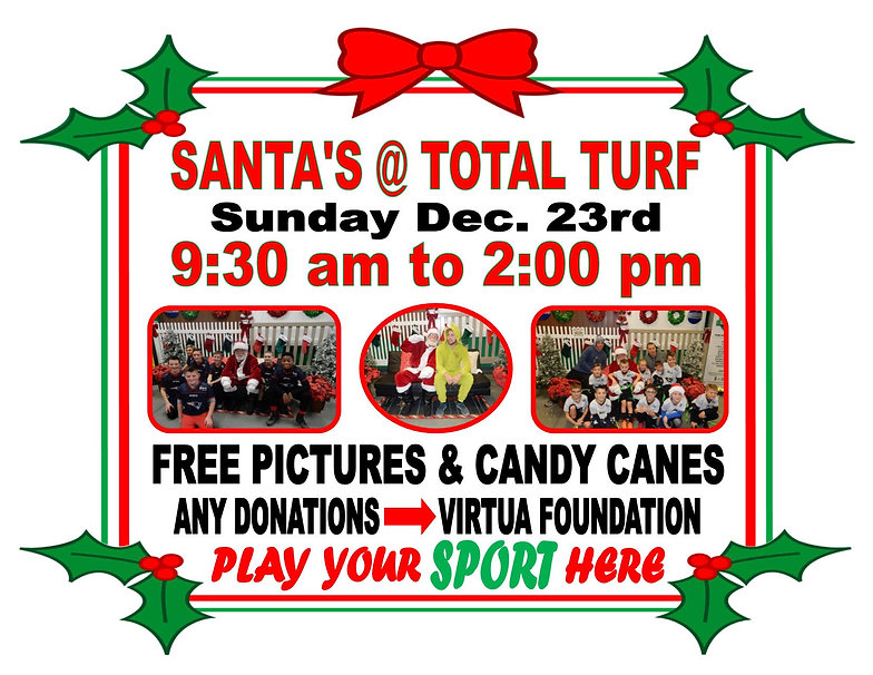 Santa Special Events Total Turf Experience Youth Sports Fun Holiday Ideas New Jersey