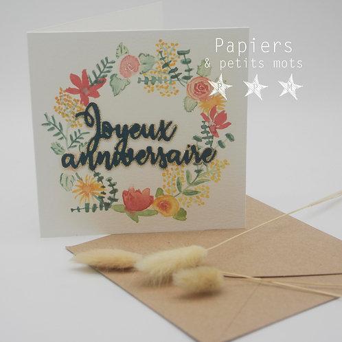 Couronne printanière - Joyeux anniversaire / vert