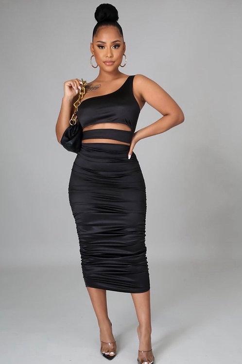 Black Two-Piece Skirt Set