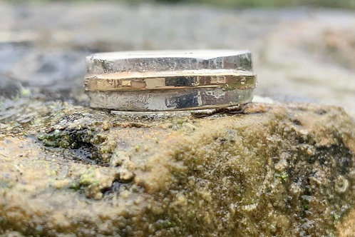 Silver and gold band ring