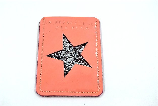 étui de carte bleu étoile rose