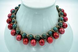 Tour de cou lin et perles céramiques