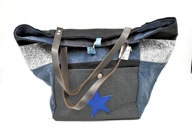 grand sac cabas bleu et noir