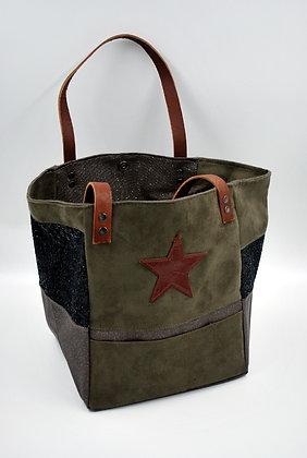 sac cabas moyen marron étoile