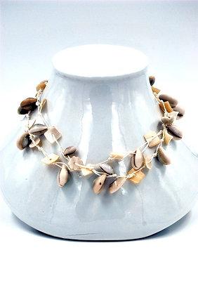 collier naturel lin coquillage