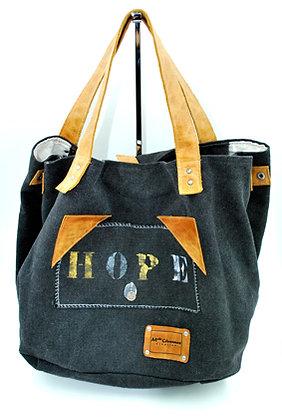 sac cabas noir cuir marron
