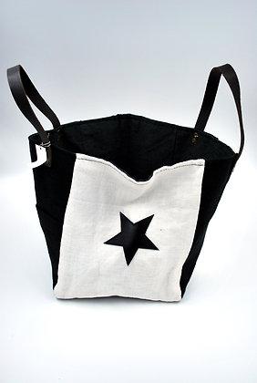 sac cabas petit noir et blanc lin