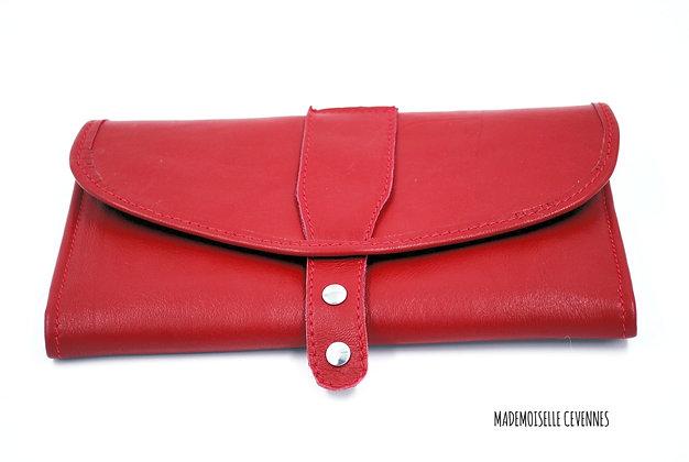 portefeuille cuir rouge vue face
