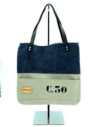 sac a mains C30 lin bleu jean et ecru