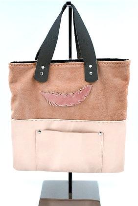 sac a mains cuir rose vue devant