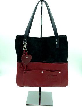 sac C.30 cuir rouge et noir