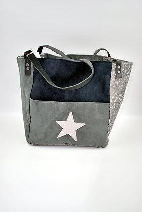 sac cabas moyen gris étoile