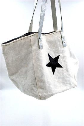 sac cabas petit lin blanc étoile cuir