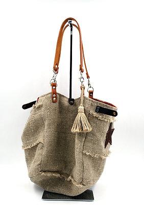 sac cabas bohème en lin naturel