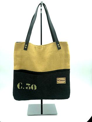 sac a mains C30 lin jaune et noir