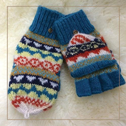 nuna-knits | TEAL FAIR ISLE FINGERLESS MITTENS