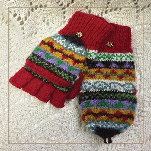 nuna-knits | GARNET FAIR ISLE FINGERLESS MITTENS