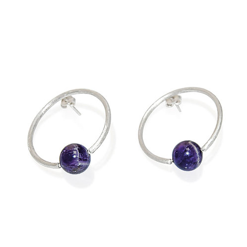 AMETHYST OVALE EARRINGS