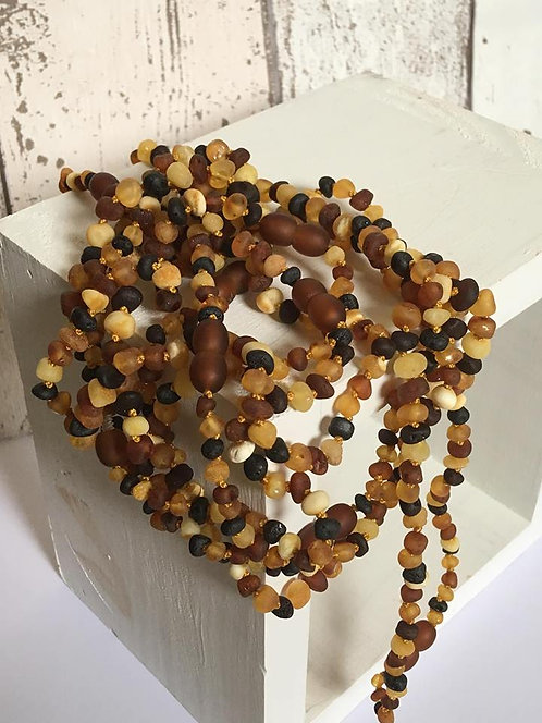 Multicoloured Raw Amber Necklace