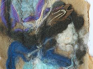 Yarnscape art nest created with mixed media