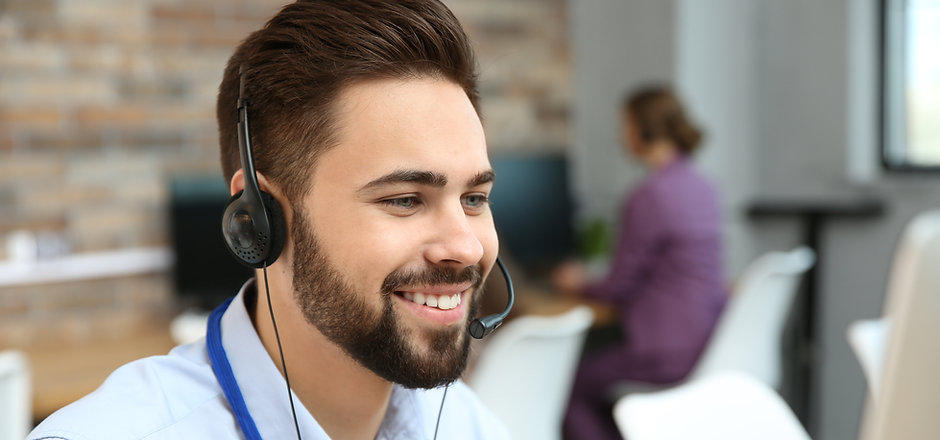Technical support operator working with