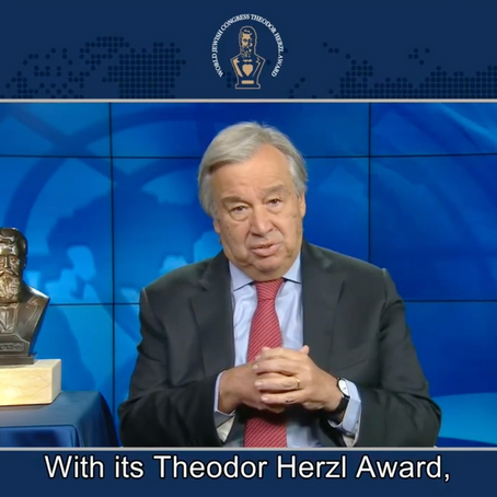 #RESET2021-002 WJC Theodor Herzl Award 2020 Goes To UN Secretary General Antonio Guterres